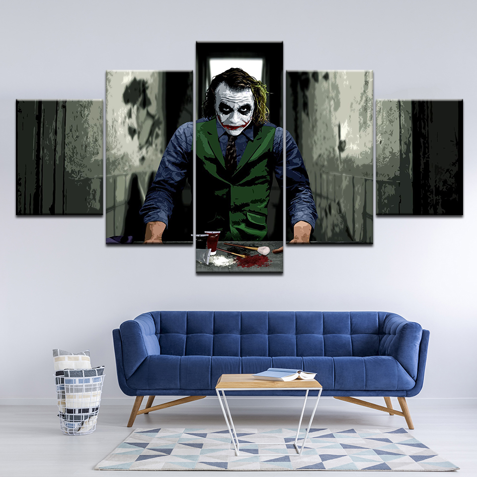 Batman Joker Heath Ledger Canvas Print Painting Art 5pcs Wall Home Decor