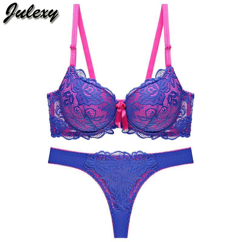 06548f9972c Julexy New 2019 Sexy Lace Women bra set thong hollow out Underwear Panty  Set intimante Bra