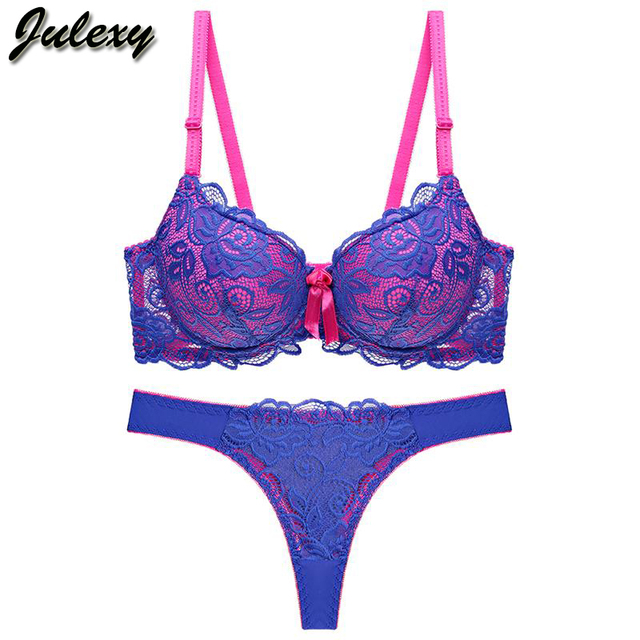 Julexy New 2019 Sexy Lace Women bra set thong hollow out Underwear Panty Set  intimante Bra brief lingerie set