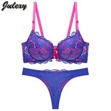 Julexy New 2019 Sexy Lace Women bra set thong hollow out Underwear Pan
