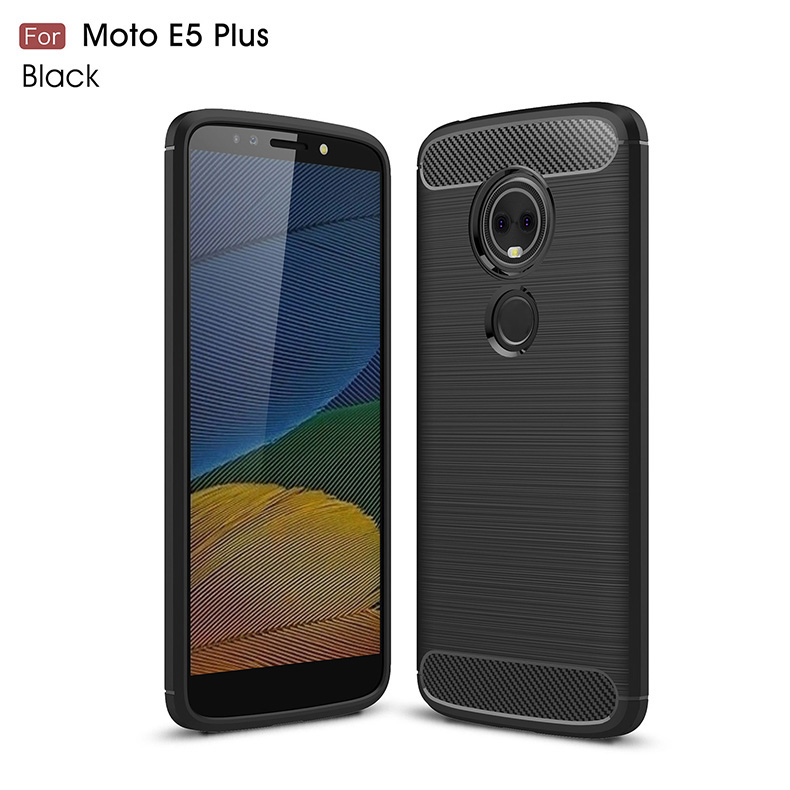 1Pcs Luxury Mobile Phone Cases for Motorola MOTO E5 Plus Silicone Drop Protection Gel carbon fiber Soft Shell in Half wrapped Cases from Cellphones Telecommunications