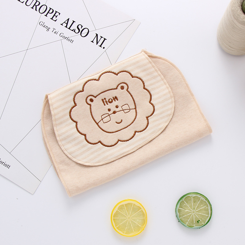New Baby Stuff Printing Natural Color Cotton Animal Baby Pad Back Towel Baby Absorbent Towels Baby Soft Sweat Towel ...