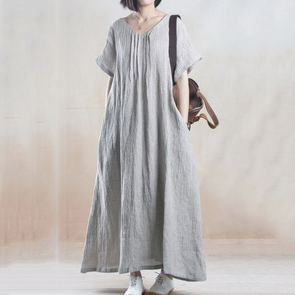 Us 32 4 Retro Knit Cotton Linen Casual Summer Dresses Simple Loose Women Coarse Woven Short Sleeve Dress In Dresses From Women S Clothing On
