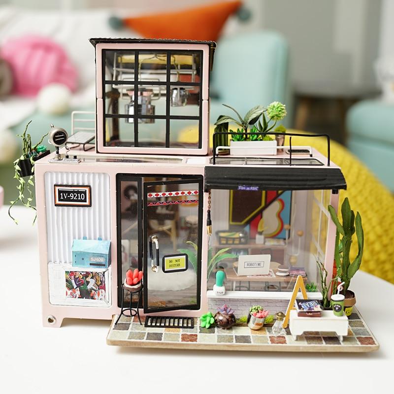 Robotime bricolage maison de poupée Lol maison 3D Puzzle en bois Miniature maison de poupée assemblage modèle Kits de construction jouets pour enfants DG13
