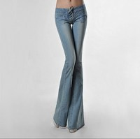 Womens Wide Leg Denim Jeans Trouser Women Sexy Low Waist Wide Flare Jeans Ladies Vinatge Flared Bell Bottom Jeans