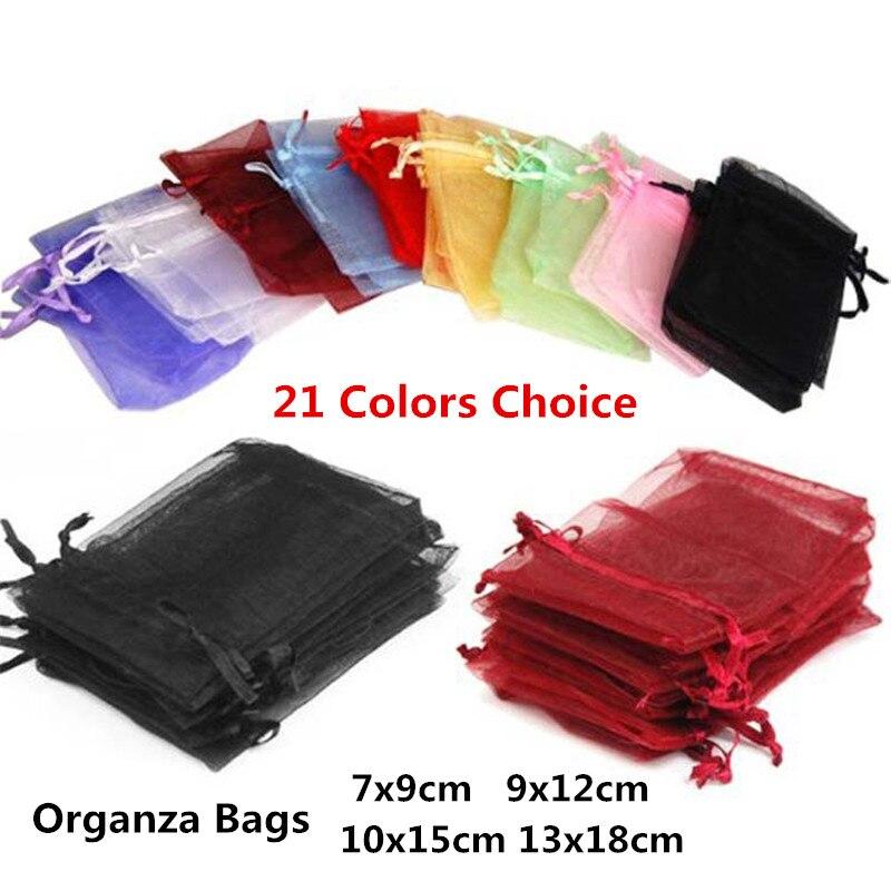 10pcs 7x9cm 9x12cm 10x15cm 13x18cm Organza Gift Bags Wedding Christmas Jewelry Packaging Bags & Pouches Birthday Party Supplies