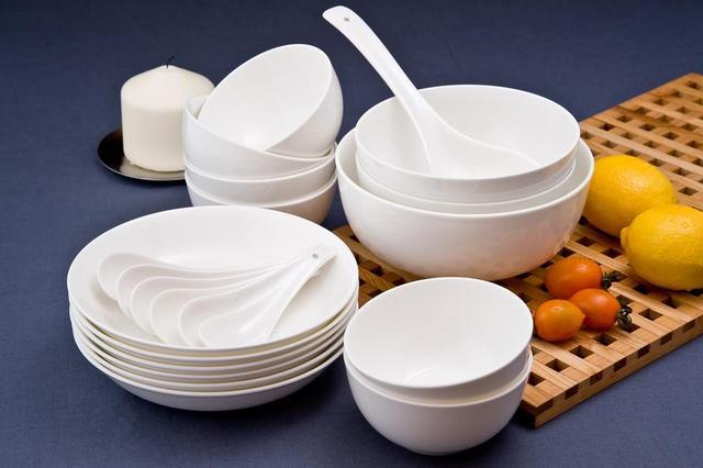 Wholesale Korean Style Pure White Bone China Dinnerware Set Fashion White Bone China 28 Pcs Tableware & Wholesale Korean Style Pure White Bone China Dinnerware Set Fashion ...