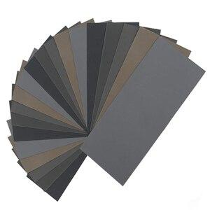 Image 1 - HLZS 20Pcs papel de lija seco húmedo, alto grano 1000/2000/3000/5000/7000 hojas de lija surtido para Pulido de metales de madera Automoti
