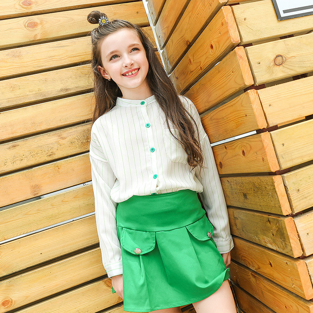 eb8415c25120 korean kids clothes girls skirts set 2018 spring autumn teenagers little girls  clothing sets long sleeve blouses and skirt