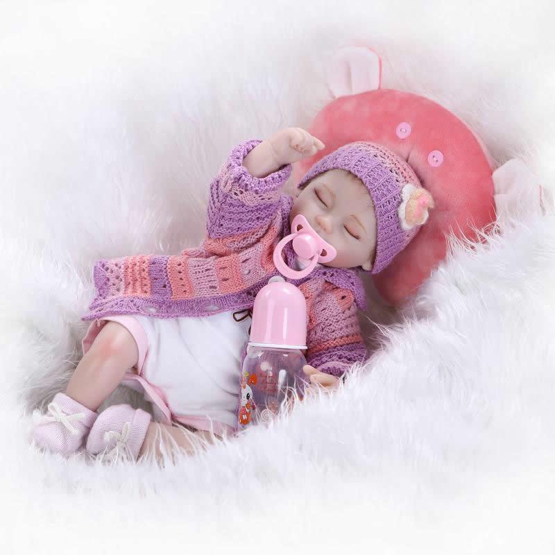 ФОТО Handmade 17Inch reborn dolls lifelike soft silicone Newborn babies sleeping doll gift for children