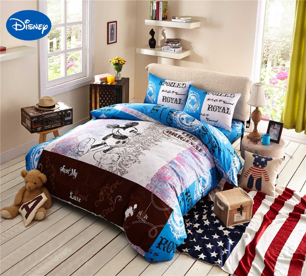 Royal Blue Bedding - Cartoon disney print bedding set cotton royal blue mickey mouse comforter bed sheet duvet covers children s