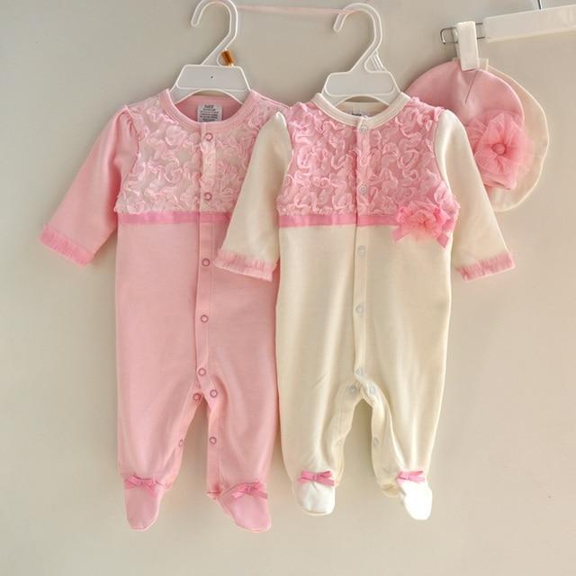 Новый 2015 осень хлопок кружева новорожденных детский комбинезон + шляпы 2 шт. девочки подарки одежды милый ребенок девушки ноги пижамы ползунки