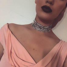 Europe and America Fashion Retro Simple multilayer rhinestone necklace
