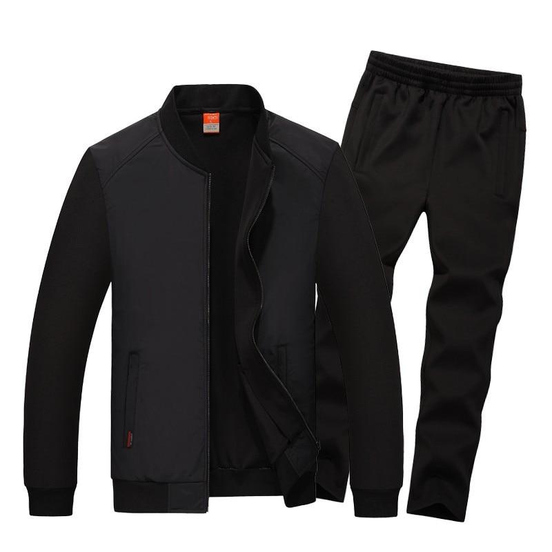 Men's Tracksuits New Fashion Men Sportswear Hoodies Set Spring Autumn Suits Coats+Pants Male Sweatshirts Plus Size L-8XL