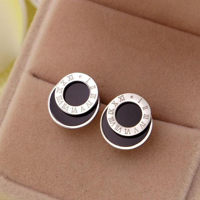 Модные ювелирные изделия круглые черные серьги гвозди с римскими