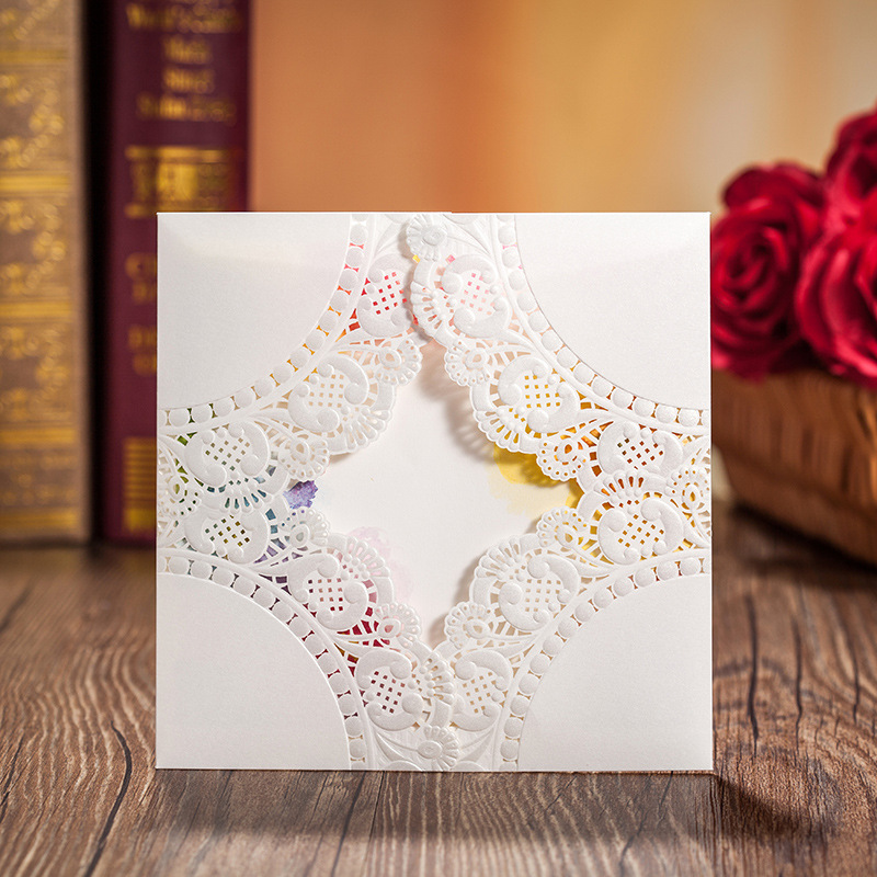 White Embossed Wedding Invitation Cards with Free Envelope ,3d pop ...