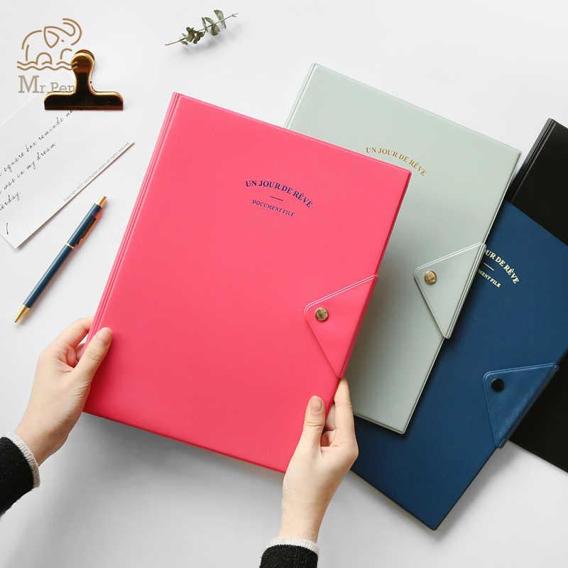 4 Colors A4 Waterproof PVC File Folder Paper Bill Card Organizer Case Office Stationery Business Office Meeting Folder