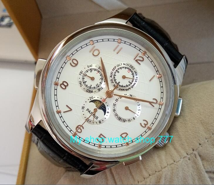 44mm PARNIS  White dial Automatic Self-Wind Mechanical movement men watches Mechanical watches wholesale  0241bbb parnis white dial st3600 goose neck movement hand chain mechanical men s watch wholesale