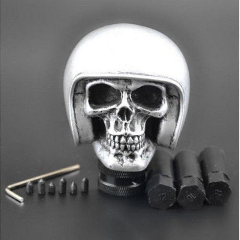 New Silver Skull Head Car Truck Manual Stick Gear Shift Knob Lever Shifter Universal