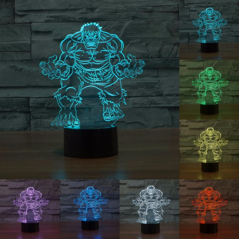 Creative 3D lights LED vision 7 Colors Changing light gradient colorful Nightlight gift lamp Hulk Christmas Gift Lamp IY803333 abstract 3d creative colorful nightlight
