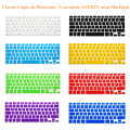 "French UK/EU Franch Silicone Soft color AZERTY Keyboard Cover Skin for Macbook Pro 13"" 15"" 17"" Air 13 inch Protective film"