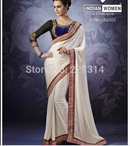 Le Indian Traditional Saree Wedding Dress White Bridal Sarees Embroidery Long Sleeves Blouse Women Sari Party Clothing In India Stan