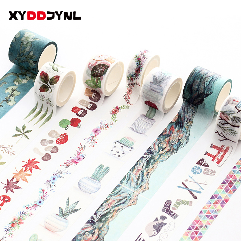 7m Cute Kawaii Watercolor Decorative Washi Tape DIY Scrapbooking Planner Masking Tape School Stationery Sticker Label