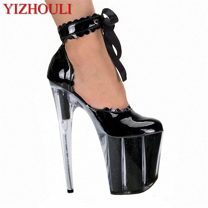 Sexy 20 cm femmes bureau Transparent talons hauts 8 pouces ruban dentelle chaussures de mariage Stiletto avec plate-forme chaussures simples