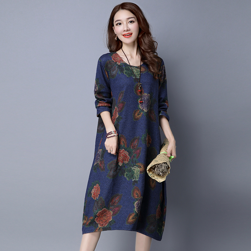 Cashmere Lining Oversized Warm Wool Jumper Dress 2018 Winter Fashion Long Sleeve O Neck Flower Print Tunic Dress Pullover