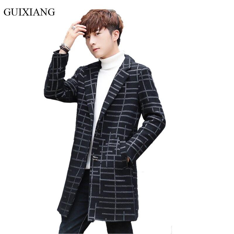 2018 Новые поступления стильных мужских изысканных шерстяных пальто модные куртки на каждый день средней длинны мужские тонкие клетчатые тренчи шерстяные пальто Размер M 3XL