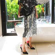 2019 New Fashion Spring and Summer Sequins Skirts Beading Length Empire Sexy Club