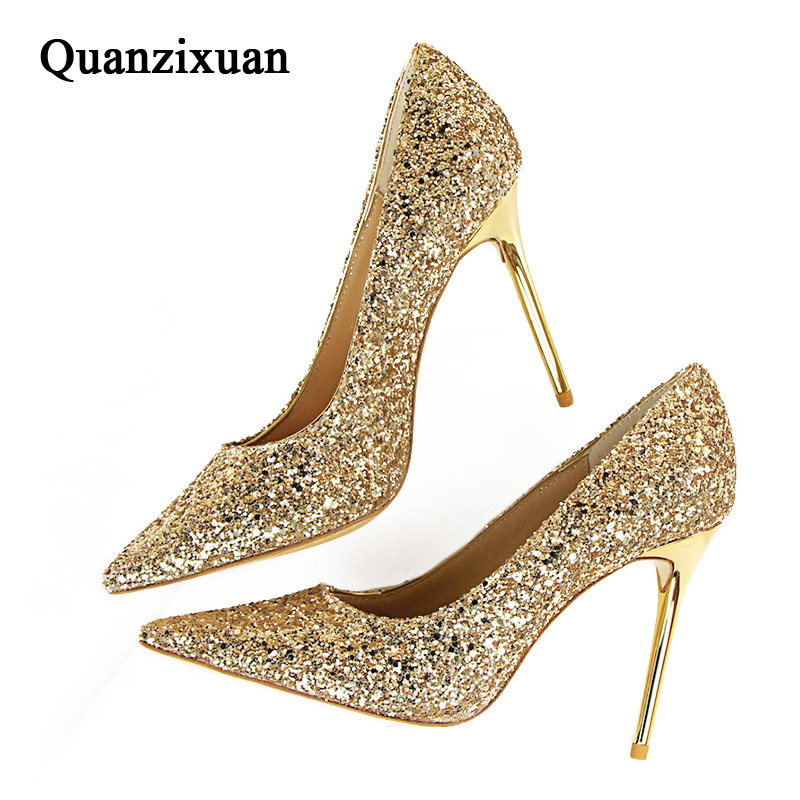 Quanzixuan Women Pumps Sexy High Heels Women Shoes Bling Fashion Casual Wedding Shoes Women Pointed Toe Gold siketu 2017 free shipping spring and autumn women shoes fashion sex high heels shoes red wedding shoes pumps g107