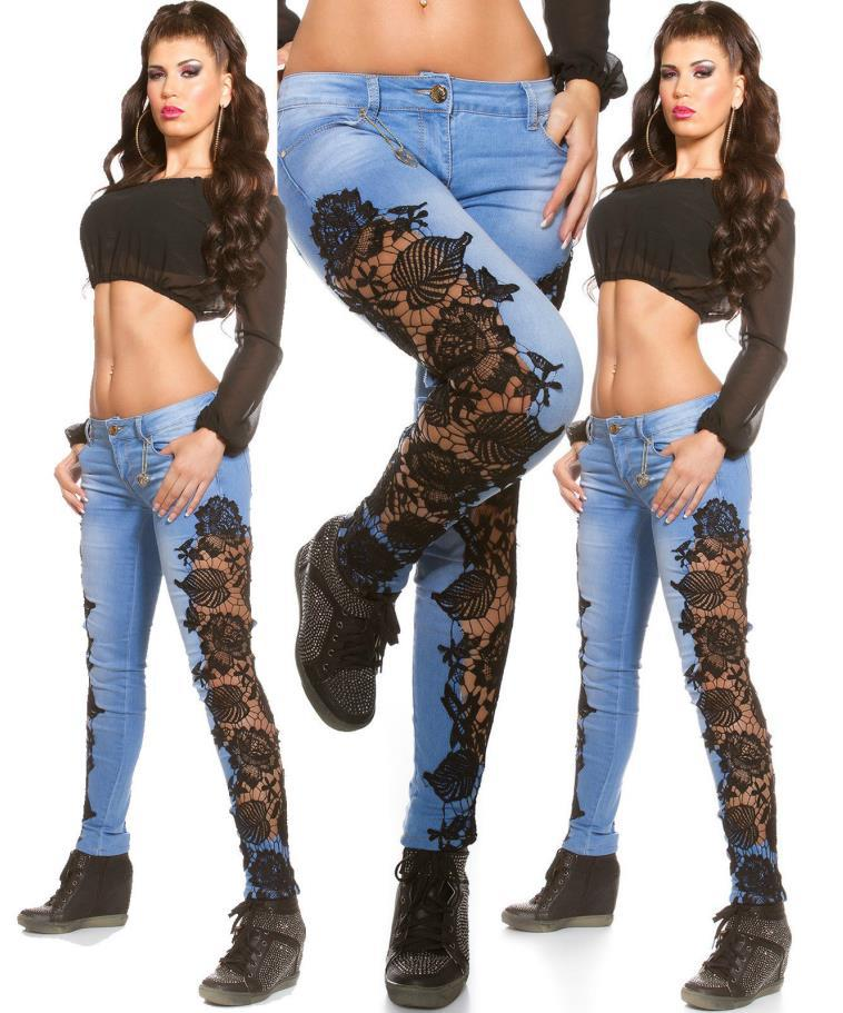 Woman Pencil Pants patchwork Side Lace Floral Jeans Hollow Out Skinny Denim Jeans 2017 Fashion Trousers For Women Ropa Mujer