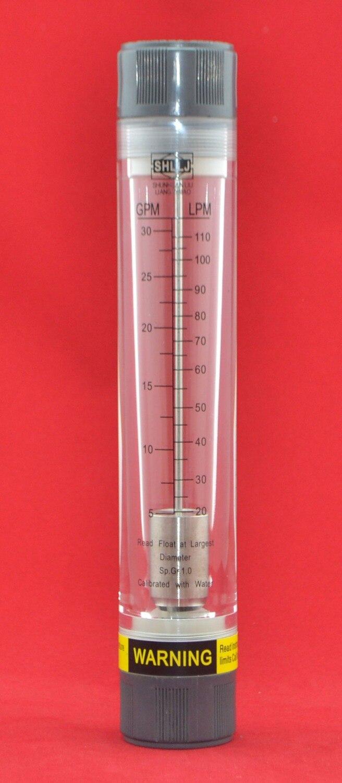 "LZM-25G Potrubní měřič průtoku vody / vzduchu akrylový rotametr [5-30GPM / 20-110LPM] Samice 1 ""BSP nebo NPT"