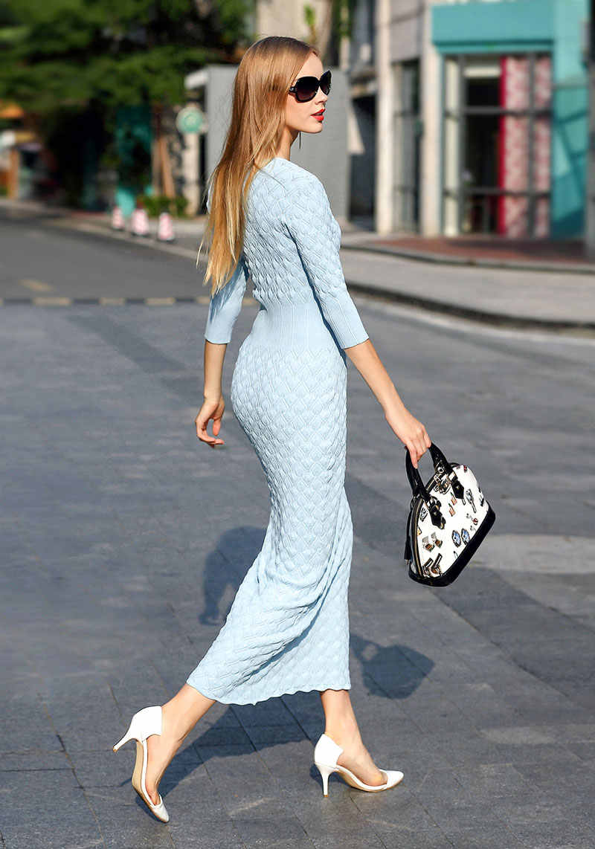 Синее/черное/бежевое/красное трикотажное платье с v-образным вырезом, длиной до лодыжки, 3/4 рукав, облегающее платье русалки зимние платья-свитера
