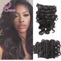 Hotselling negro mujeres brasileño de la virgen del pelo clip ins extensiones de clip en la onda del cuerpo del pelo humano 10-26 Pulgadas 7pce/set