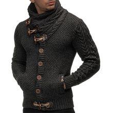 2345fd15d Novos Homens de Inverno Camisola de Gola Alta de Malha com Botões Magro  Cardigan Tops Robusto Chifres Fivela Casuais Camisola