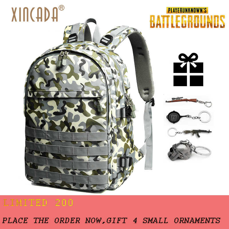 a250006d244 XINCADA PUBG Backpack Level 3 15.6 inch Laptop USB Charge Backpack for Men  Students Gift Water
