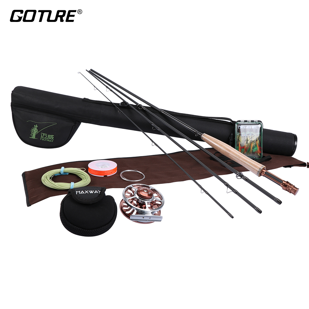 Goture pesca A Mosca Set 2.4 m 2.7 m Flishg Rod Reel Combo 3/4 5/6 In Alluminio Fly Reel con la Linea 16 pz Mosche Fly Fishing Kit di pesca