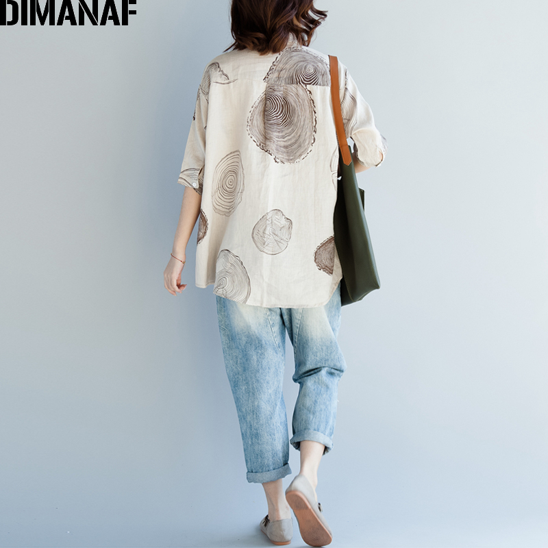 DIMANAF Women Blouse Shirts Plus Size Female Clothing Print Paisley Cotton Thin Basic Tops Loose Half Sleeve Blouse Summer 2018 4