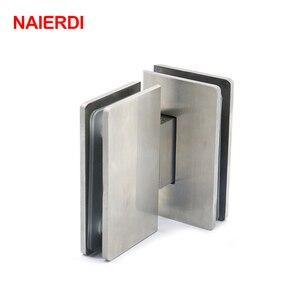 NAIERDI-4904, 180 градусов, шарнир, открывающийся, 304, нержавеющая сталь, настенное крепление, стеклянная душевая дверь, петли для мебель для домашней ванной комнаты, оборудование