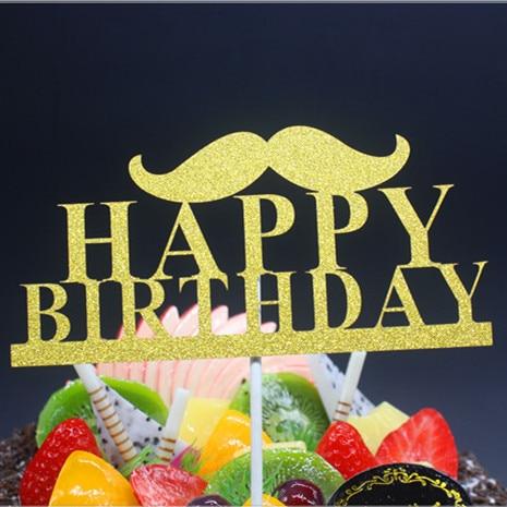 DIY Mutlu Doğum Günü Baba Bıyık Kek Bayrak Topper Doğum Günü - Tatiller ve Partiler Için - Fotoğraf 2