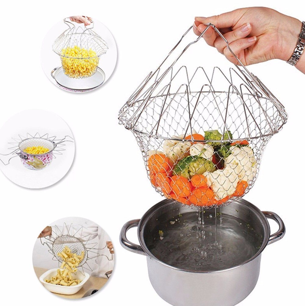 1PCS Foldable Steam Rinse Strain Fry French Chef Basket Magic Basket ...