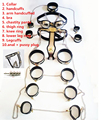 stainless steel 11 pcs/set sex products female chastity belt slave collar hand ankle cuffs vagina anal plug bdsm bondage kit