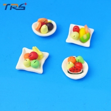 Teraysun 10PCS/LOT 1/30 Scale Model Fruit Plate Making Craft DIY Toy Mini Tray for sale