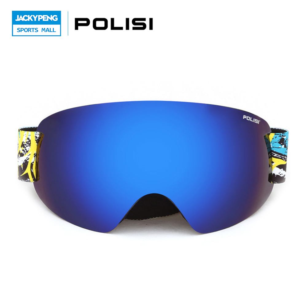 POLISI Professional Winter Skiing Snow Goggles UV Protection Snowboard Glasses Double Layer Lens Anti-Fog Ski Eyewear, Blue Lens polisi professional snow skiing eyewear ski goggles uv protection double layer anti fog lens winter snowboard glasses blue lens