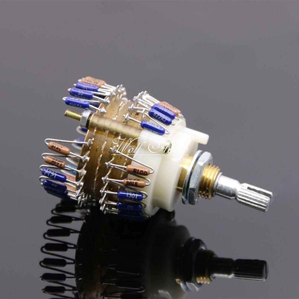 1pcs Assembled Dale 23 Step Attenuator Two-channel Volume Potentiometer 500K / 200K / 100K / 50K / 10K -Optional