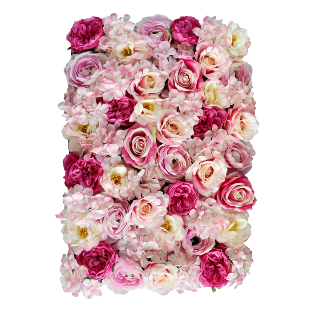 Tapis mural fleur artificielle en soie 3 pièces   Pour pilier principal, toile de fond de scène sur route, décor de lieux de mariage, Rose Rose