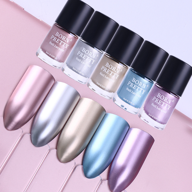 Aliexpress.com : Buy BORN PRETTY 1 Bottle 9ML Metallic Nail Lacquer ...