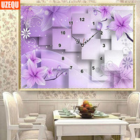 DIY Flower Wall Clock Diamond Painting Cross Stitch Purple Floral Watch Diamond Embroidery Full Round Drill